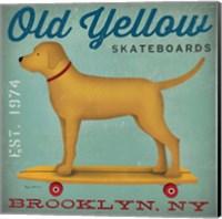 Framed Golden Dog on Skateboard