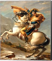 Framed Napoleon Crossing the Alps at the St Bernard Pass