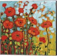 Framed Red Poppy Field