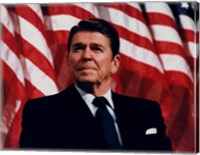 Framed President Ronald Reagan with American Flag