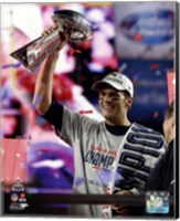 Framed Tom Brady with the Vince Lombardi Trophy Super Bowl XLIX