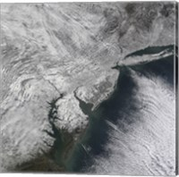 Framed Satellite view of a Nor'easter Snow Storm over the Mid-Atlantic and Northeastern United States