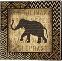 Framed African Wild Elephant Border