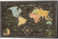 Framed Old World Journey Map Black
