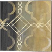 Framed Abstract Waves Black/Gold Tiles IV