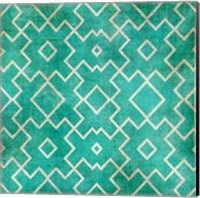 Framed Tan on Teal Pattern
