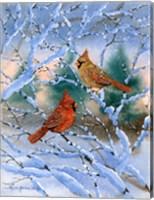 Framed Sunset Cardinals