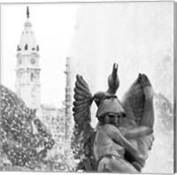 Framed Fountain (City Hall) (b/w)