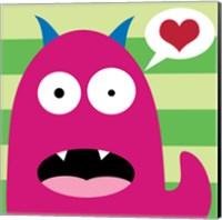 Framed Pink Monster - Stripes