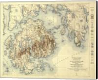 Framed Acadia National Park Map