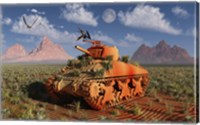 Framed World War II American Sherman Tank