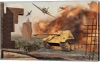 Framed American P-47's Attacking German Jagdpanther Tanks