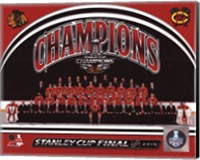 Framed Chicago Blackhawks 2015 Stanley Cup Champions Team Sit Down Photo