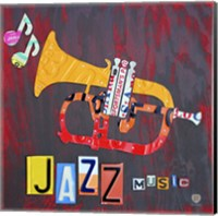 Framed License Plate Art Jazz Series Piano II