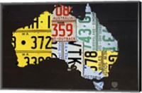 Framed Australia License Plate Map