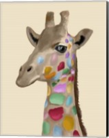 Framed MultiColoured Giraffe
