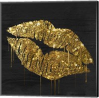 Framed Golden Lips