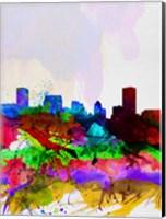 Framed Baltimore Watercolor Skyline