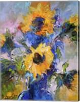 Framed Sunflowers In Blue Vase