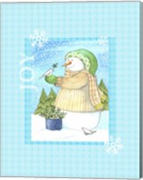 Framed Snowman Doves