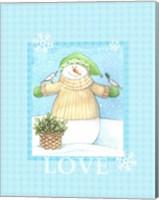 Framed Snowman Dove Love