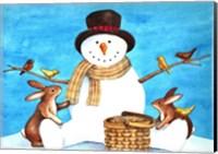 Framed Snowman Bunnies