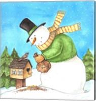Framed Snowman Green Bird