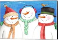 Framed Three Snowmen Sing