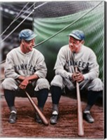 Framed Babe Ruth and Lou Gehrig (seated)