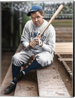 Framed Babe Ruth Sitting on Top Step