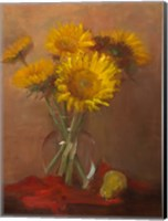 Framed Sunflowers and Red Cloth