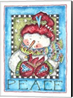 Framed Peace Snowman and Cardinal