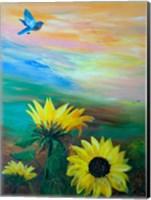 Framed BlueBird Flying Over Sunflowers