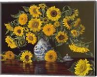 Framed Sunflowers in Blue and White Vase