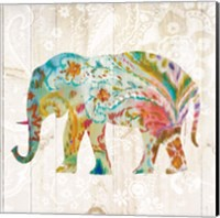 Framed Boho Paisley Elephant II