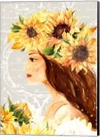 Framed Sunflower Girl I