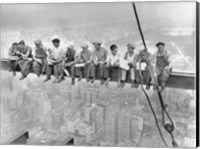 Framed New York Construction Workers Lunching on a Crossbeam, 1932