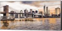 Framed Brooklyn Bridge and Lower Manhattan at sunset, NYC