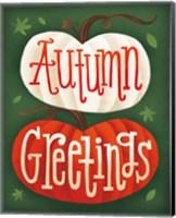 Framed Harvest Time Autumn Greetings Pumpkins