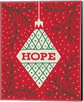 Framed Jolly Holiday Ornaments Hope
