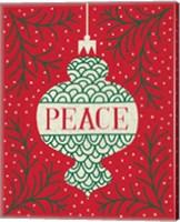 Framed Jolly Holiday Ornaments Peace