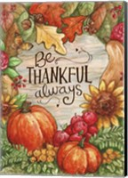 Framed Leaves Heart Be Thankful