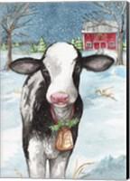 Framed Country Barn Christmas With Wreath
