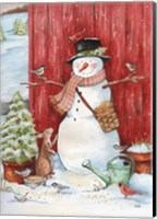 Framed Snowman with Birds and Flurries