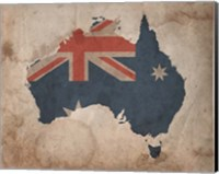 Framed Map with Flag Overlay Australia