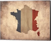 Framed Map with Flag Overlay France