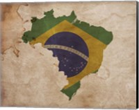 Framed Map with Flag Overlay Brazil