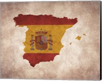 Framed Map with Flag Overlay Spain