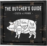 Framed Butcher's Guide Pig