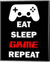 Framed Eat Sleep Game Repeat  - Black